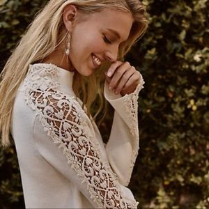 Knitted & Knotted | Lace Funnel Neck Sweater